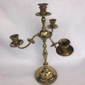 A Large 19th Century Brass Three Branch Candlelabra