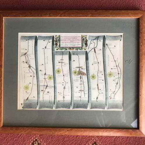 Old Map From London To Barwick in a wooden frame image-1