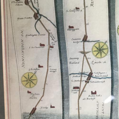 Old Map From London To Barwick in a wooden frame image-5