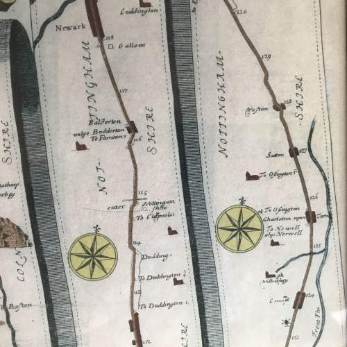 Old Map From London To Barwick in a wooden frame image-6