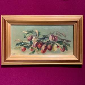 Early 20th Century Ruby White Oil on Canvas Painting of Plums