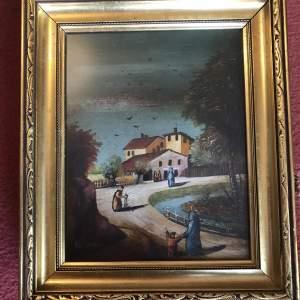 A Village Scene Oil Painting By Van Doyryn