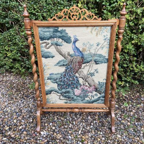 Decorative Oak Framed Victorian Firescreen image-1