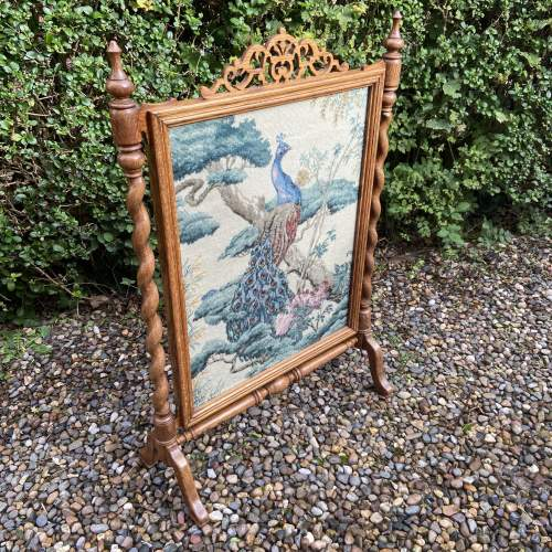 Decorative Oak Framed Victorian Firescreen image-2