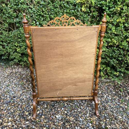 Decorative Oak Framed Victorian Firescreen image-3
