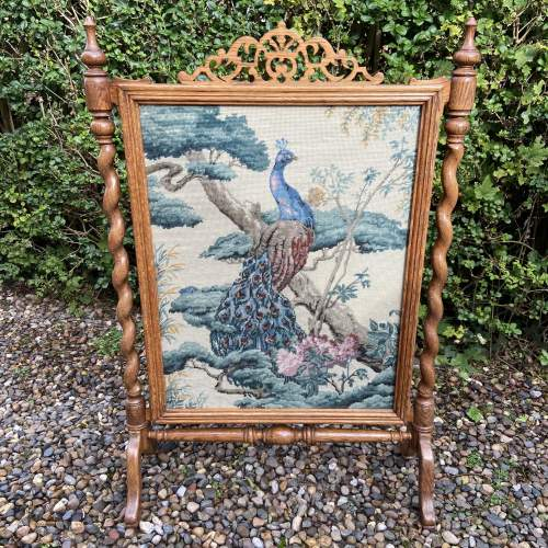 Decorative Oak Framed Victorian Firescreen image-5