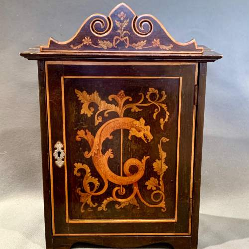 Antique Small Hand Painted Wooden Cabinet image-1