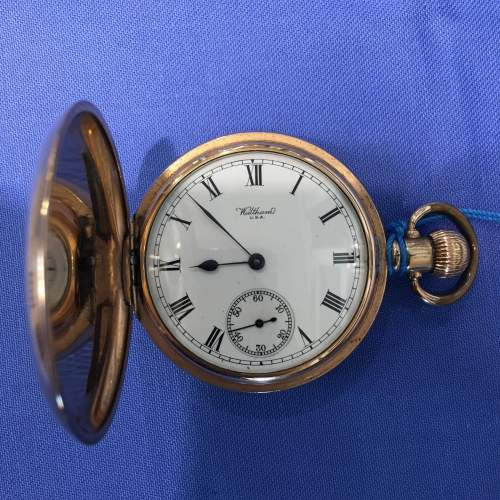 Full Hunter Gold Plated Pocket Watch By Waltham image-1