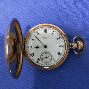 Full Hunter Gold Plated Pocket Watch By Waltham