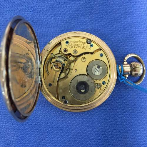 Full Hunter Gold Plated Pocket Watch By Waltham image-3