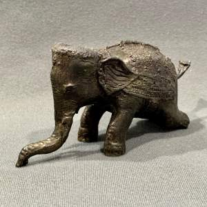 Small Ornate Bronze Asian Elephant