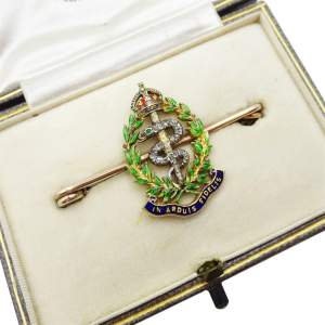 Royal Army Medical Corps Gold and Enamelled Sweetheart Brooch