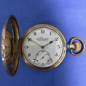 Everite Gold Plated Full Hunter Swiss Pocket Watch