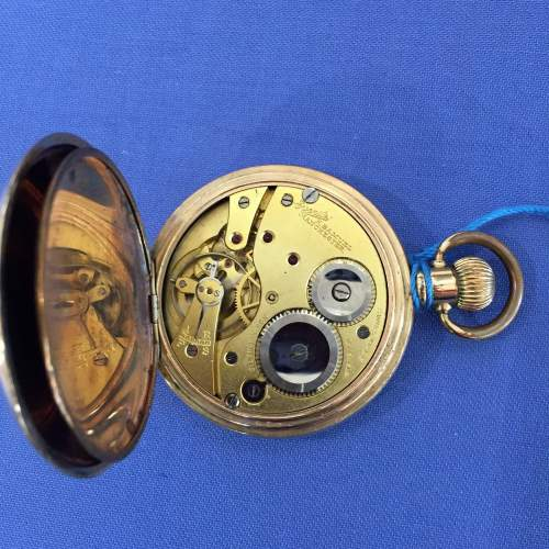 Everite Gold Plated Full Hunter Swiss Pocket Watch image-3