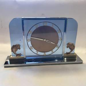 Art Deco 8 Day Timepiece in Blue Glass and Chrome