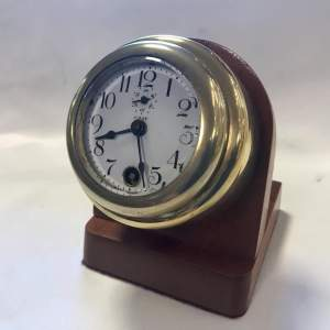 Ford Model T 8-Day Car Clock Mounted on a Mahogany Plinth