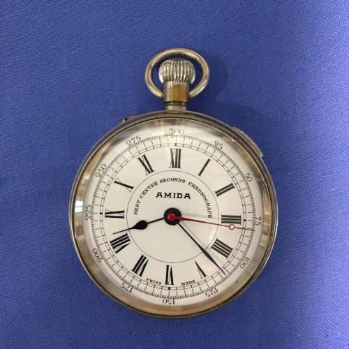 Amida Silver Plated 1930s Chronograph Pocket Watch image-1