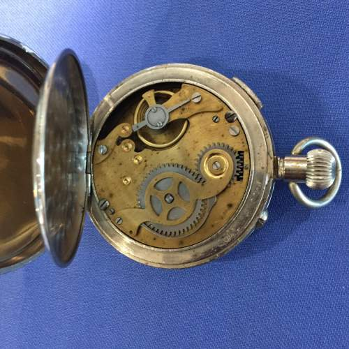 Amida Silver Plated 1930s Chronograph Pocket Watch image-3