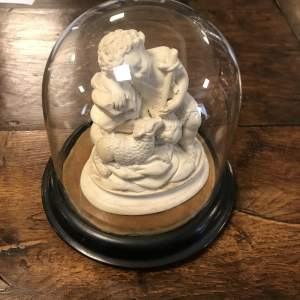 Christ Child With Lamb Figure within A Glass Dome