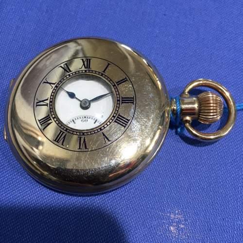 A Limit Swiss Gold Plated Half Hunter Pocket Watch image-1