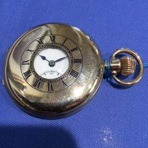 A Limit Swiss Gold Plated Half Hunter Pocket Watch