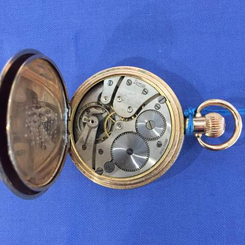 A Limit Swiss Gold Plated Half Hunter Pocket Watch image-4