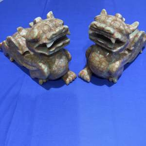 A Pair of Chinese Carved Marble Dogs Of Fo