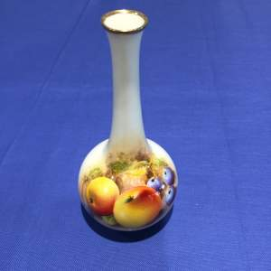 Royal Worcester Small Bottle Vase With Hand Painted Fruit