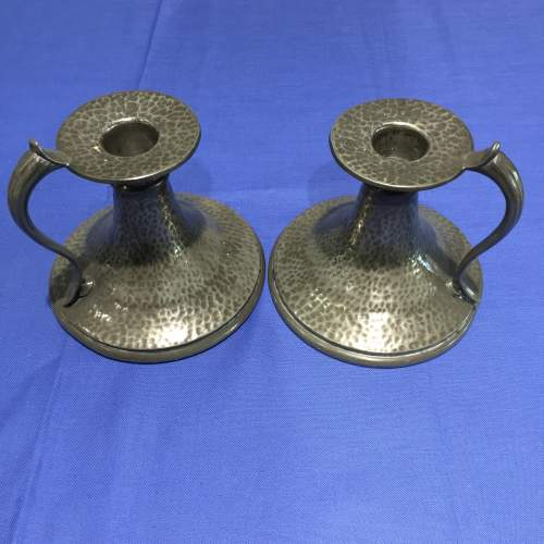 A Pair Of Hammered English Pewter Candle Holders Circa 1930s image-1