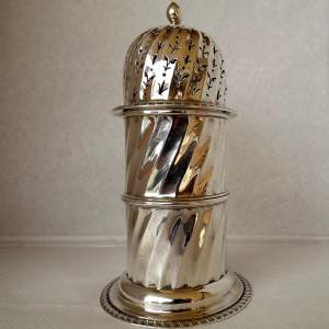 Large Heavy Victorian 1896 Silver Sugar Caster by Charles Boynton