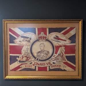 Rare Edward VIII Coronation Flag in Later Frame