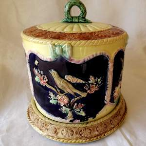 Victorian Thomas Forester Four Panel Majolica Cheese Dome with Base
