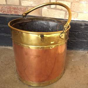 Antique Copper and Brass Coal Bucket Original Liner Circa 1900