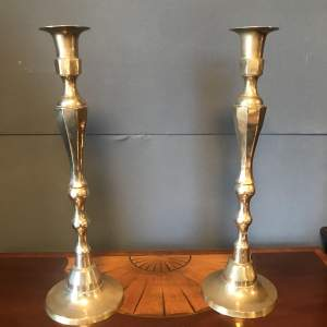Large Pair of Brass Candlesticks
