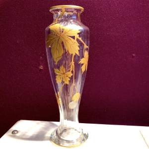 Baccarat Glass Vase with Gilt Decorations