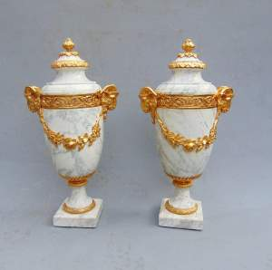 A Large Pair of 19th Century Carrara Marble Ormolu Mounted Cassolette Urns