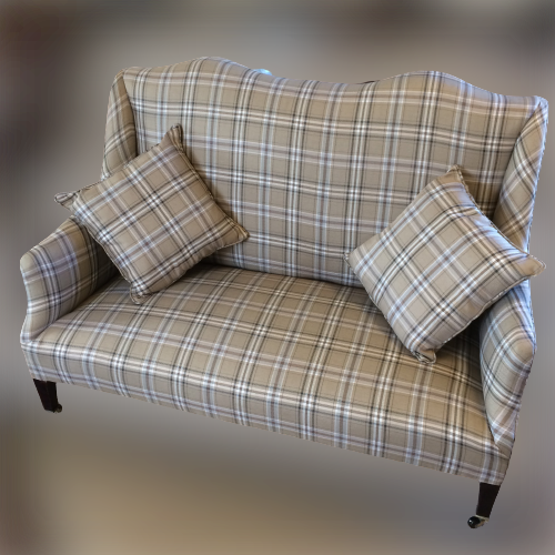 Edwardian Sofa on Tapered Legs with Brass Castors image-1
