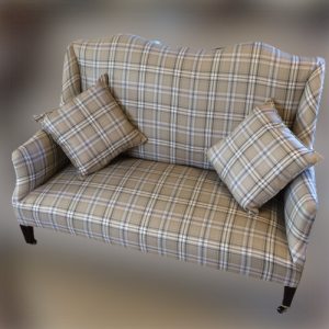 Edwardian Sofa on Tapered Legs with Brass Castors