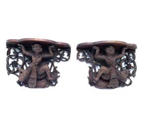 Stunning Pair of Carved Burmese Wall Brackets or Corbels