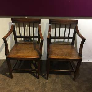 Pair of George III East Anglian Oak and Elm Carver Chairs