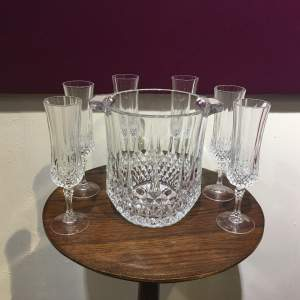 Heavy Lead Crystal Ice Bucket with Six Champagne Glasses