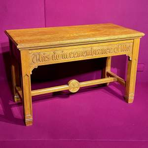 Mid 20th Century Solid Oak Ecclesiastical Alter Table