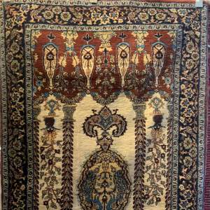Superb Old Hand Knotted Kashmir Rug Very Unusual Piece