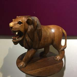 Large Mid 20th Century Carved Wooden Lion