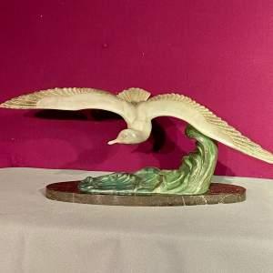 Art Deco Spelter Figure of a Seagull in Flight