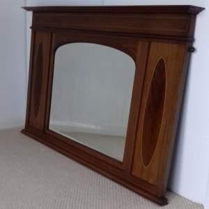 Edwardian Mahogany Inlaid Over Mantel Mirror