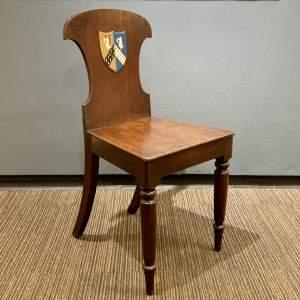 Mahogany Hall Chair with Heraldic Shield