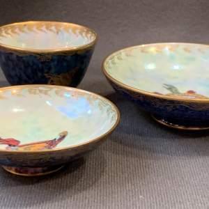 Set of Three Daisy Makeig Jones Wedgwood Fairyland Lustre Bowls