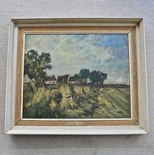 Oil Painting on Canvas - Near Nantwich Cheshire by R.Hope FSA