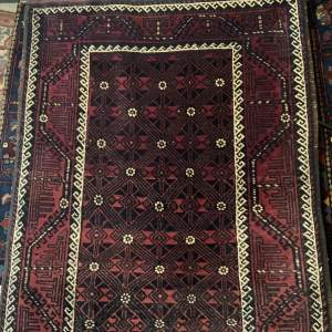 Old Hand Knotted Afghan Village Rug Unusual Design Muted Colours